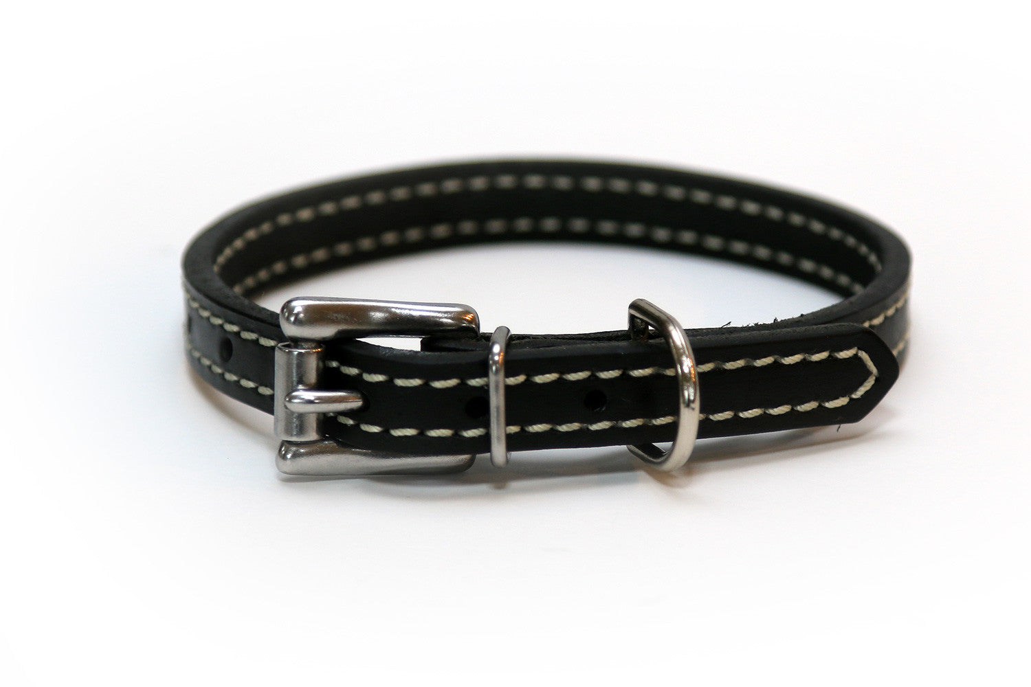 Latigo Leather 3/4 Inch Stitched Black Dog Collar