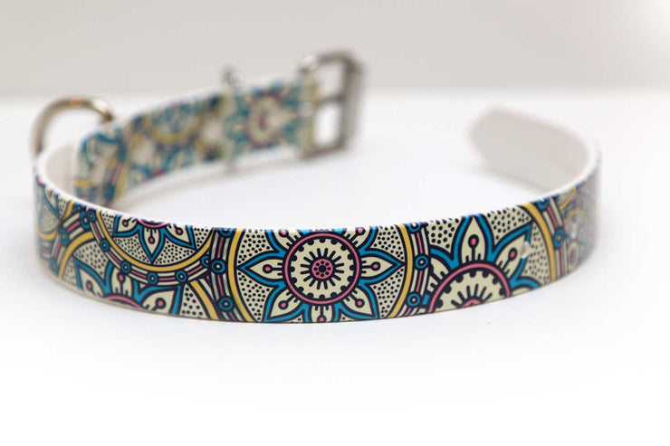 Waterproof Dog Collar - Henna Design - 1 Inch - Closeup 2