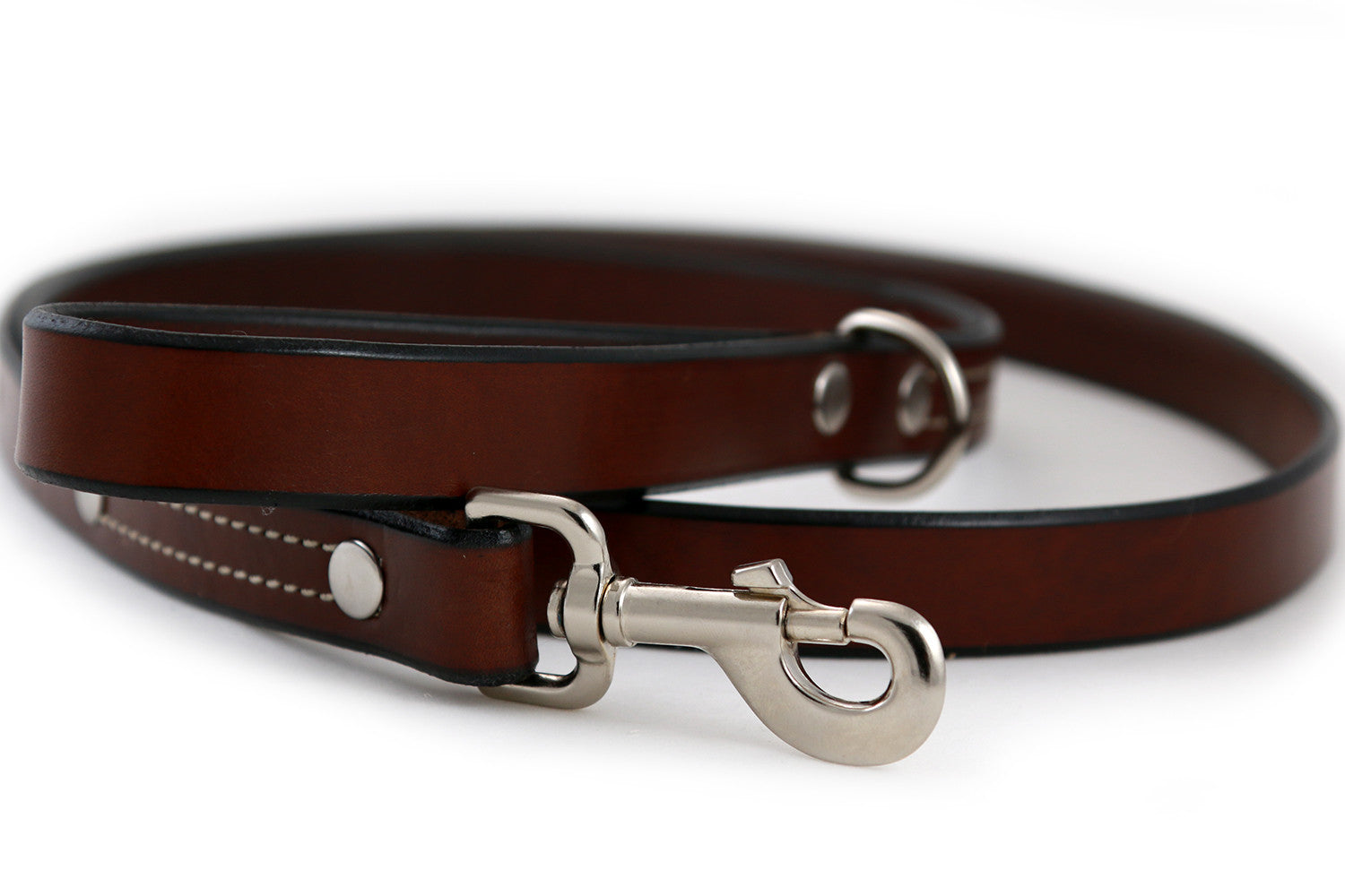 Latigo Leather Dog Leash 1 Inch Wide in Brown or Black