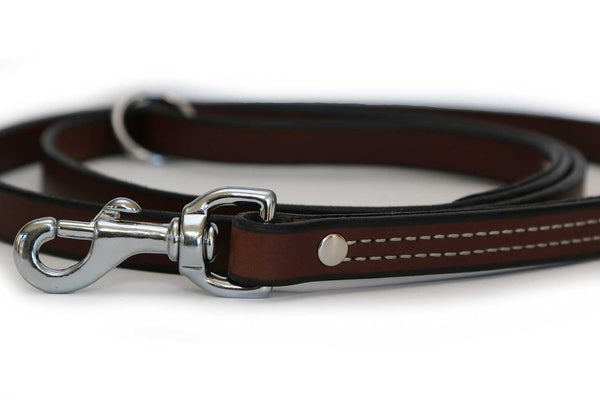 Latigo Leather Dog Leash 3/4 Inch Wide in Black, Brown, or Burgundy