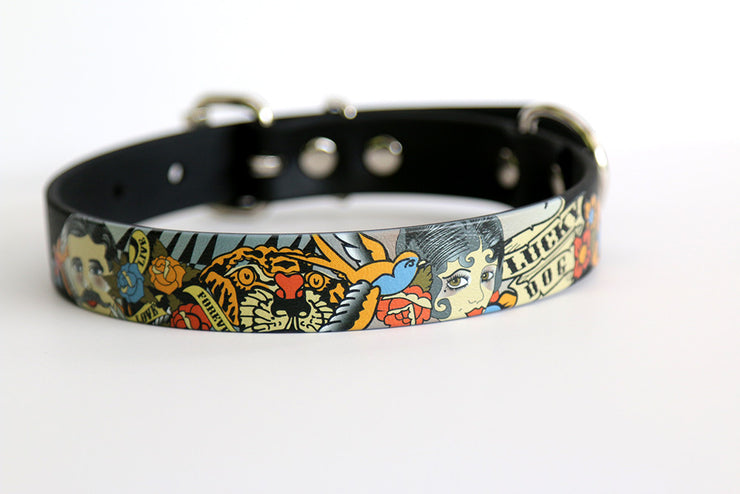 Lucky Dog Tattoo Waterproof Sport Collar on Black - 1 Inch