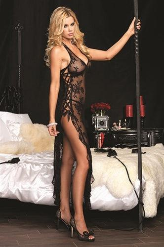 Rose Lace High Slit Gown and G-String - One Size - Black | Leg Avenue | My Sex Toy Hub