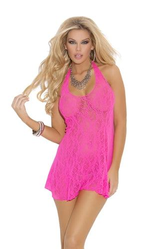 Lace Halter Mini Dress - One Size - Neon Pink - My Sex Toy Hub