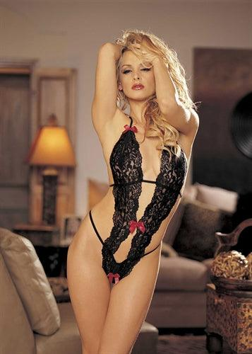 Stretch Lace Peek-a-Boo Teddy With Bows - One Size - Black - My Sex Toy Hub