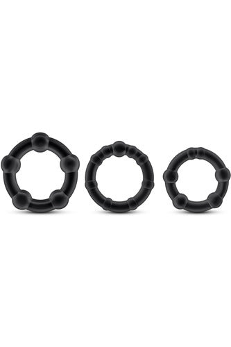 Stay Hard Beaded Cockrings - 3 Pack - Black - My Sex Toy Hub
