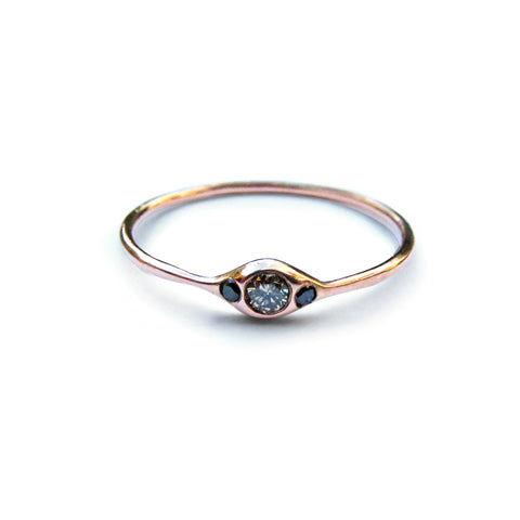 Three Diamond Eye Ring