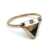 Triangle opal black diamond ring.