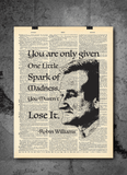 Robin Williams - One Spark of Madness - Art Vintage Dictionary Wall Art Print - Famous Quote Wall Art