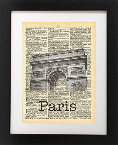 Arc de Triomphe - Paris France Vintage Dictionary Print
