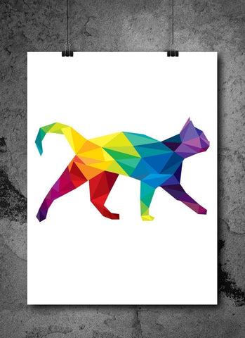 Watercolor Pixelated Cat