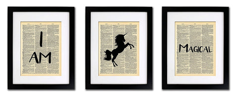 Unicorn I Am Magical - 3 Print Set - Vintage Dictionary Print