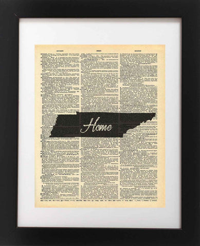 Tennessee State Vintage Map Vintage Dictionary Print