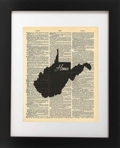 West Virginia State Vintage Map Vintage Dictionary Print
