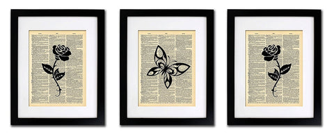 Butterfly Roses - 3 Print Set - Vintage Dictionary Print