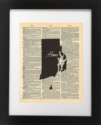 Rhode Island State Vintage Map Vintage Dictionary Print