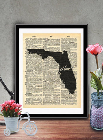 Florida State Vintage Map Vintage Dictionary Print