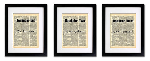 Daily Reminders Quote - 3 Print Set - Vintage Dictionary Print