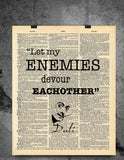 Salvador Dali Quote - Let My Enemies Devour Each Other - Vintage Dictionary Print