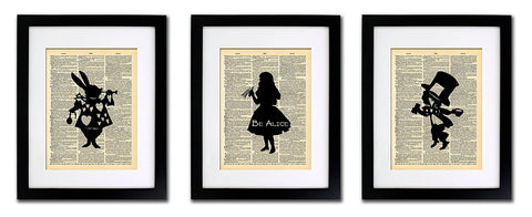 Alice in Wonderland Tea Party - 3 Print Set - Vintage Dictionary Print