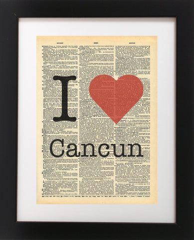 I Heart Cancun Vintage Dictionary Print