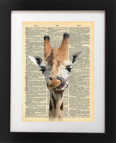 Big Happy Giraffe Vintage Dictionary Print 8x10 inch