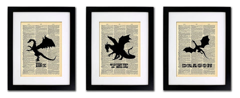 Be the Dragons Game of Thrones Theme - 3 Print Set - Vintage Dictionary Print