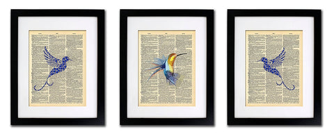 Hummingbirds - 3 Print Set - Vintage Dictionary Print