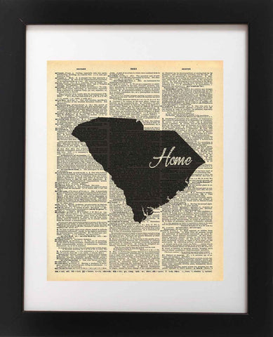 South Carolina State Vintage Map Vintage Dictionary Print
