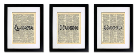 Love Home Happy Quotes - 3 Print Set - Vintage Dictionary Print