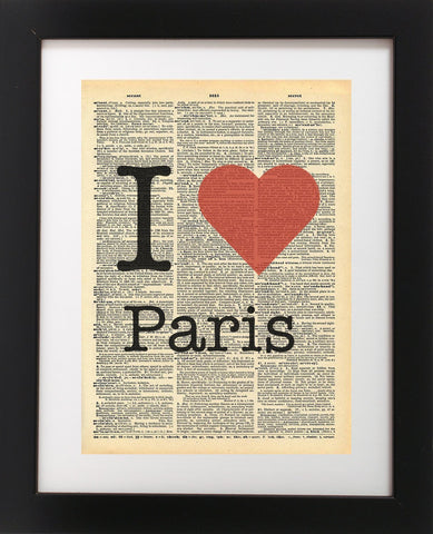I Heart Paris France Vintage Dictionary Print
