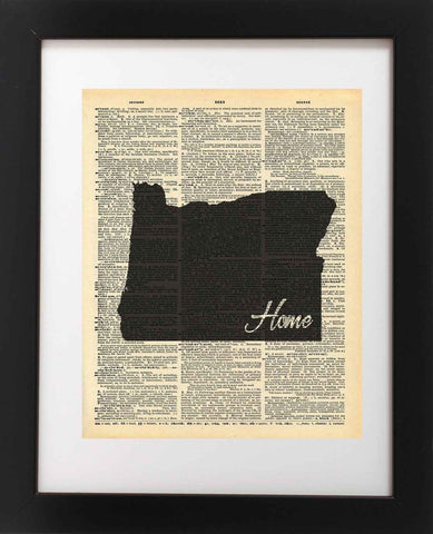 Oregon State Vintage Map Vintage Dictionary Print