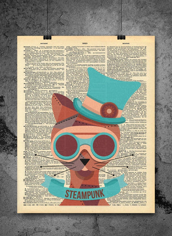Steampunk Cat Top Hat - Art Vintage Dictionary Wall Art Print - Animal Cat Wall Art