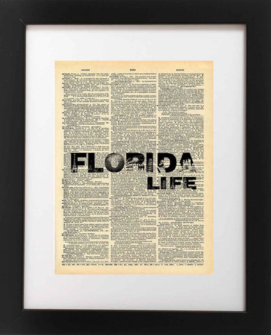 Florida Life Dictionary Art Print - Vintage Dictionary Print