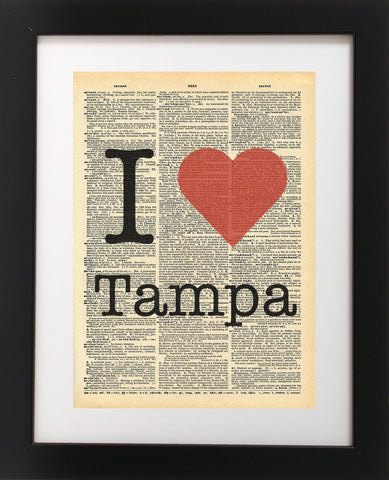 I Heart Tampa Vintage Dictionary Print