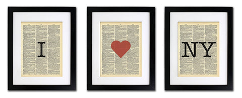 I Love New York - 3 Print Set - Vintage Dictionary Print