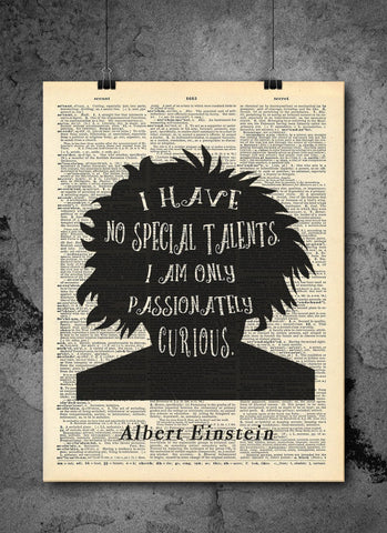 Albert Einstein - Curious Quote - Vintage Dictionary Print