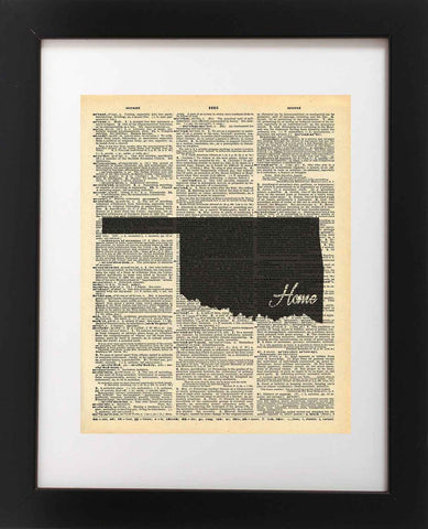 Oklahoma State Vintage Map Vintage Dictionary Print