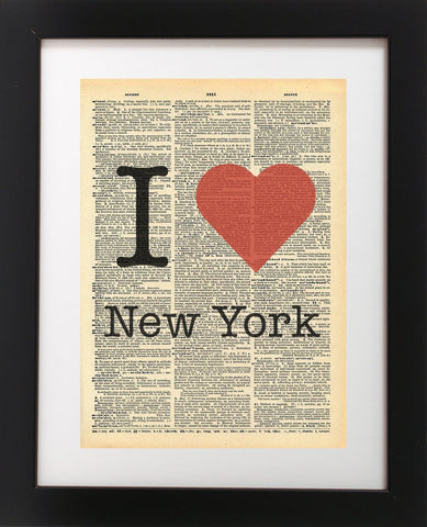 I Heart New York NYC - Vintage Dictionary Print