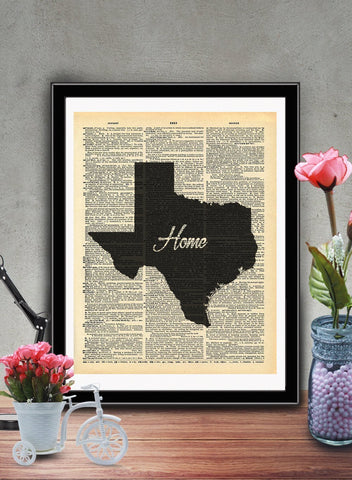 Texas State Vintage Map Vintage Dictionary Print