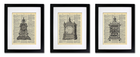 Vintage Clock Collection - Triple Print - Vintage Dictionary Print