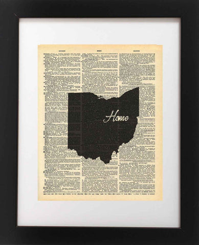Ohio State Vintage Map Vintage Dictionary Print