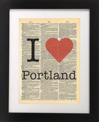 I Heart Portland Oregon Vintage Dictionary Print