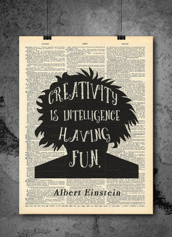 Albert Einstein - Creativity Quote - Vintage Dictionary Print
