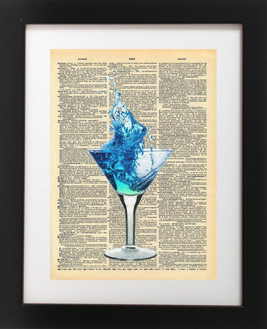 Martini Glass Drink Vintage Dictionary Print
