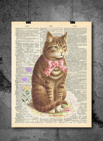 Cat In Pink Bowtie - Cat Wall Art Animal Collection - Vintage Dictionary Print