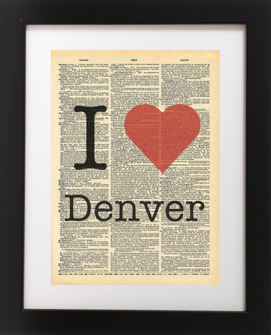 I Heart Denver - Vintage Dictionary Print