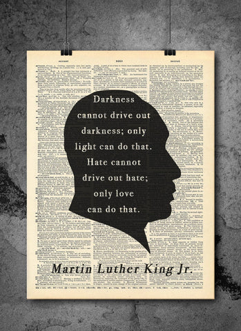 Martin Luther King Jr. - Quotes - Vintage Dictionary Print