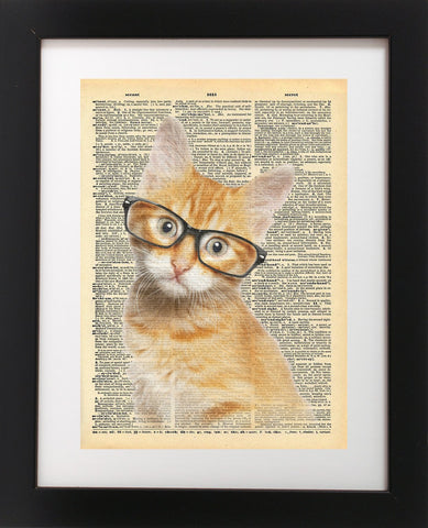 Cute Cat In Glasses Vintage Dictionary Art Print