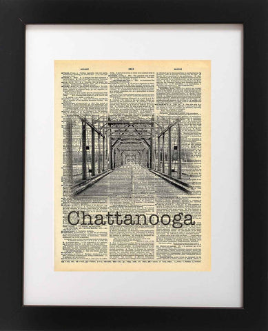 Walnut Street Bridge Chattanooga Tennessee Vintage Dictionary Print