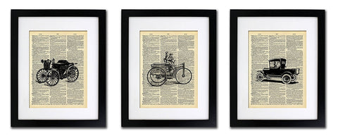 Vintage Car Collection - Triple Print - Vintage Dictionary Print